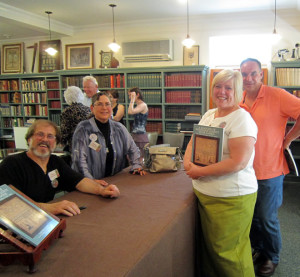Authors Dan & Marty Campanelli with Mr & Mrs. Schaible who lent a sampler for the exhibit. Their sampler was the Boss funky lion family register.