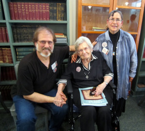 The Campanellis with 100-year-old Ella Haver to whom the book was dedicated.