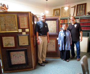 The Campanellis with needlework collector Daniel C. Scheid who lent three pieces for the exhibit.