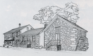 Sketch of the Sergeantsville Inn, published in Colonial Homes Magazine, August 1987